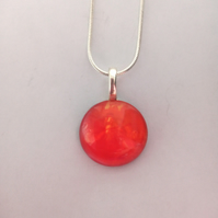 Orange Round Pendant Necklace, Womens Jewellery, Gift,Unique