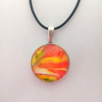 Multicoloured Orange and Yellow Round Pendant Necklace, Womens Jewellery, Gift