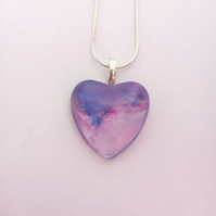 Lilac and Purple, Heart Shaped Pendant Necklace, Womens Jewellery, Gift, Unique,