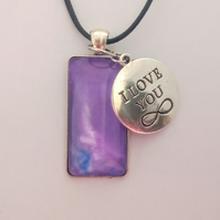 Purple, I Love You Charm, Rectangular Pendant Necklace, Womens Jewellery,