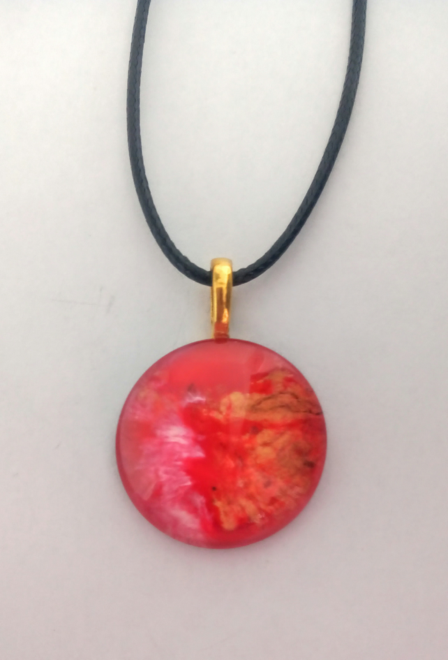 Round, Red and Gold Pendant Necklace, Womens Jewellery, Gift