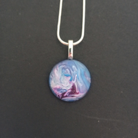Unique and Handmade Multicoloured Purple, Lilac and Blue Pendant Necklace Womens