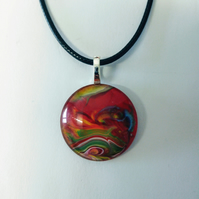 Multicoloured Red Pendant Cord Necklace Love Unique One of a Kind
