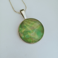 Green Yellow Round Pendant Necklace One of a Kind Unique Gift