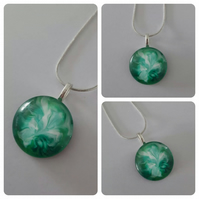 Beautiful Green and White Round Pendant Necklace One of a Kind Unique Gift