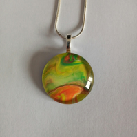 Unique Green Yellow and Orange Round Pendant Necklace One of a Kind Gift