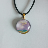 Multicoloured Pale Lilac Pendant Cord Necklace Love Unique One of a Kind