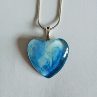 Beautiful Blue Heart Pendant Necklace Love Unique One of a Kind