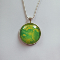 Beautiful Green and Yellow, Round Pendant Necklace Love Unique, Christmas Gift