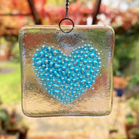 Fused Glass Bubbly Heart Hanging - Handmade Glass Suncatcher