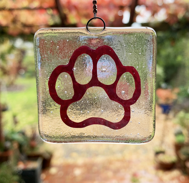 Fused Glass Copper Pawprint Hanging - Handmade Glass Decoration