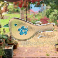 Fused Glass Turquoise Bubbly Flower Bird Hanging