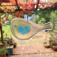 Fused Glass Turquoise Bubbly Heart Bird Hanging