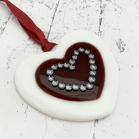 Fused Glass Heart - Handmade Glass Christmas Decoration