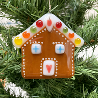 Fused Glass Gingerbread House - Handmade Glass Christmas Decoration