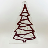 Fused Glass Clear Christmas Tree Hanging - Handmade Glass Christmas Decoration