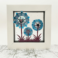 Fused Glass Allium Picture - Freestanding Framed Fused Glass Picture