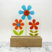 Fused Glass Retro Flowers on Oak - Multicoloured Fused Glass Sculpture