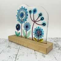 Fused Glass Botanicals on Oak 3 - Handmade Fused Glass Sculpture