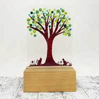 Fused Glass Tree With Cats - Handmade Fused Glass Sculpture