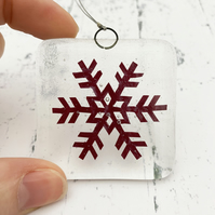 Fused Glass Copper Snowflake Hanging - Handmade Glass Christmas Decoration