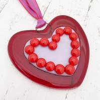 Fused Glass Red and Lilac Heart - Handmade Glass Christmas Decoration