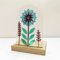 Candle Holder - Fused Glass Allium - Handmade Fused Glass and Oak