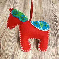 Felt Swedish Dala Horse - Swedish Inspired Christmas Decoration - Design 1