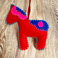Felt Swedish Dala Horse - Swedish Inspired Christmas Decoration - Design 2
