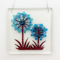 Fused Glass Alliums Square Hanging - Handmade Glass Suncatcher