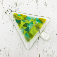 Fused Glass Christmas Tree Hanging - Handmade Glass Decoration