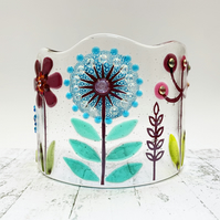 Fused Glass Botanicals Curve 2 - Handmade Glass Sculpture