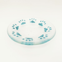 Fused Glass Bubbly Pawprint Dish - Handmade Fused Glass Dish