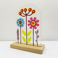 Fused Glass Botanicals on Oak 4 - Handmade Fused Glass Sculpture