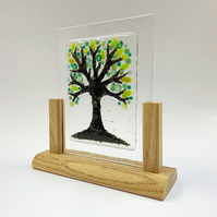 Fused Glass Brass Tree - Handmade Fused Glass Sculpture