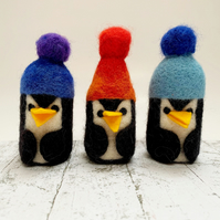 (Purple & Blue Hat) Needlefelted Penguin in Bobble Hat