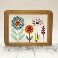 Fused Glass Meadowsweet Flower Picture - Freestanding Framed Fused Glass Picture