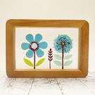 Fused Glass Blue Daisy Picture - Freestanding Framed Fused Glass Picture