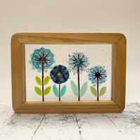 Fused Glass Mixed Alliums Picture - Freestanding Framed Fused Glass Picture