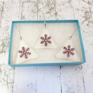 Boxed Set of 3 Snowflake Fused Glass Christmas Decorations - Handmade Glass