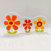 Fused Glass Warm Colour Retro Flowers Wave - Handmade Glass Sculpture