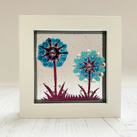Fused Glass Double Allium Picture - Freestanding Framed Fused Glass Picture