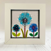 Fused Glass Triple Allium Picture - Freestanding Framed Fused Glass Picture