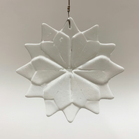 Fused Glass Clear Christmas Star Hanging - Handmade Glass Christmas Decoration