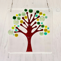 Fused Glass Square Spring Tree Hanging - Handmade Glass Suncatcher