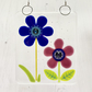 Fused Glass Cobalt and Purple Flowers Hanging - Handmade Glass Suncatcher