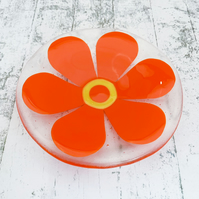 Fused Glass Retro Pimento Red Flower Dish - Handmade Fused Glass Dish