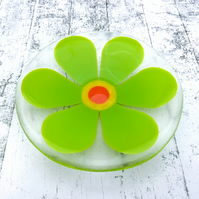 Fused Glass Retro Lime Green Flower Dish - Handmade Fused Glass Dish