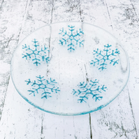 Fused Glass Bubbly Snowflake Dish - Handmade Fused Glass Dish