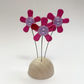 Fused Glass Happy Hippy Flowers (Pinks) - Handmade Fused Glass Sculpture